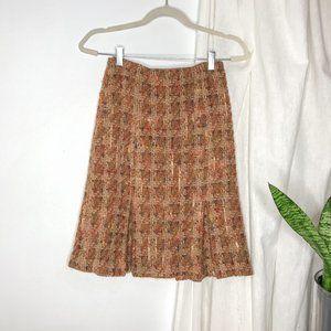 Vintage Anthropologie Tweed Boucle Pleat Skirt